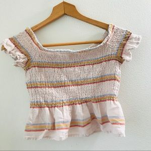 American Eagle striped ruched crop top size XS